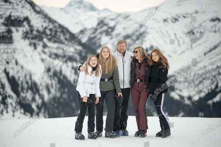 The Dutch Royal family, with Princess Ariana (L), Crown Princess Amalia (2-L), King Willem-Alexander (C), Queen Maxima (2-R) and Princess Alexia (R), poses for photographs during their annual photo session ahead of their private winter vacation in Lech am Arlberg, Austria, 25 February 2020.