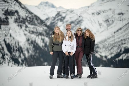 The Dutch Royal family, with Crown Princess Amalia (L), Princess Ariana (2-L, front), King Willem-Alexander (C-L, back), Queen Maxima (C-R) and Princess Alexia (R), poses for photographs during their annual photo session ahead of their private winter vacation in Lech am Arlberg, Austria, 25 February 2020.