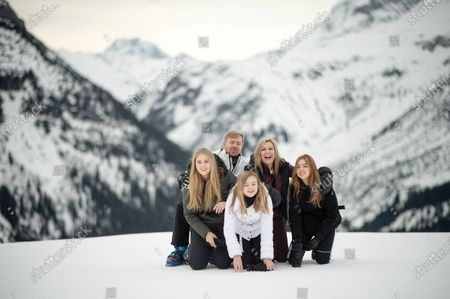 The Dutch Royal family, with Crown Princess Amalia (L), Princess Ariana (C, front), King Willem-Alexander (C-L, back), Queen Maxima (C-R) and Princess Alexia (R), poses for photographs during their annual photo session ahead of their private winter vacation in Lech am Arlberg, Austria, 25 February 2020.