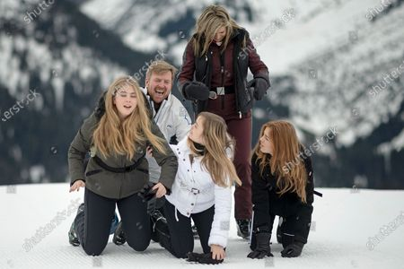 The Dutch Royal family, with Crown Princess Amalia (L), Princess Ariana (C, front), King Willem-Alexander (2-L), Queen Maxima (2-R) and Princess Alexia (R), during their annual photo session ahead of their private winter vacation in Lech am Arlberg, Austria, 25 February 2020.