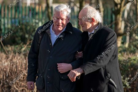 Kristinn Hrafnsson, editor-in-chief of WikiLeaks (L) and John Shipton, father of Wikileaks founder Julian Assange, (R) arrive at Woolwich Crown Court in London, Britain, 25 February 2020. Assange is facing extradition to the US on 18 charges and faces up to 175 years in prison if found guilty.