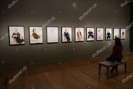 David Hockney, Ink on paper, 2019, (L-R 1-6) Celia Birtwell, (7) Maurice Payne and(8-10) Gregory Evans