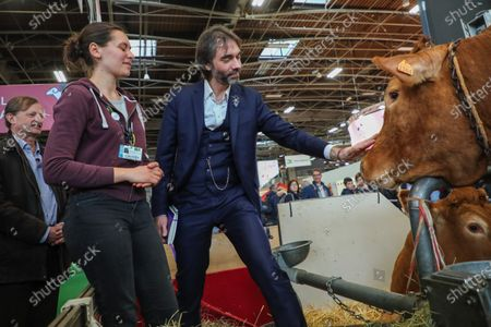 Member of French parliament and candidate to the 2020 Paris mayoral elections Cedric Villani visits the 57th International Agriculture Fair (Salon de l'Agriculture) at the Porte de Versailles exhibition centre in Paris, France, 25 February 2020.