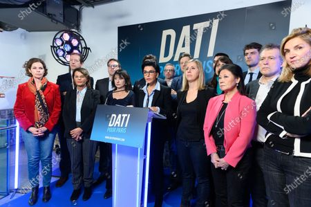 Anne Biraben,Aurelien Veron, Marie Toubiana, Geoffroy Boulard, Rudolph Granier, Marie Claire Carrere-Gee, Rachida Dati, Nelly Garnier, Valerie Montandon, Jeanne D Hauteserre, Pierre Maurin and Agnes Evren.  Member of the Les Republicains (LR) French right-wing party, mayor of the seventh district of Paris and candidate for the Paris 2020 mayoral election Rachida Dati speaks during the presentation of her program for Paris at the political campaign headquarters.