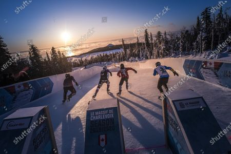 Stock Photo of Steven Cox of Canada, Marco Dallago of Austria, Mirko Lahti of Finland and Matt Johnson of the United States compete at the ATSX 500, the seventh stop of the Red Bull Ice Cross World Championship in Le Massif de Charlevoix