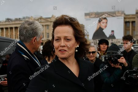 Sigourney Weaver arrives for Dior Women's fashion week Fall/Winter 2020/21 in Paris