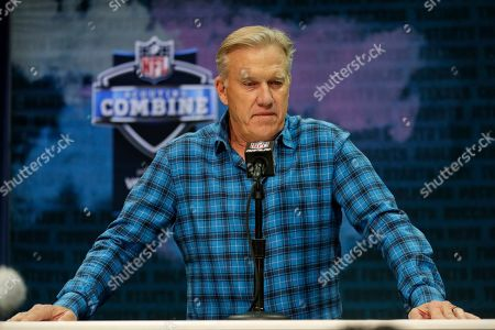 Denver Broncos president of football operations and general manager John Elway speaks during a press conference at the NFL football scouting combine in Indianapolis