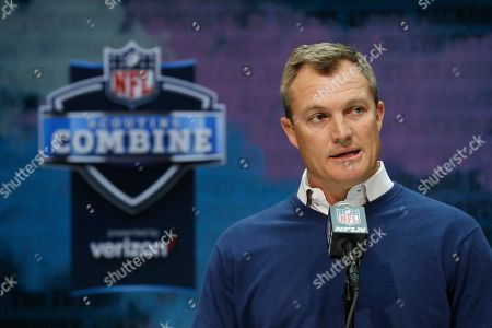 San Francisco 49ers general manager John Lynch speaks during a press conference at the NFL football scouting combine in Indianapolis