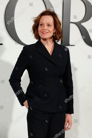 Actress Sigourney Weaver poses before Dior fashion collection during Women's fashion week Fall/Winter 2020/21 presented in Paris