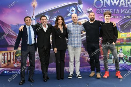 il filmmaker Dan Scanlon e le voci italiane David Parenzo, Raul Cremona, Sabrina Ferilli, Fabio Volo, Favij