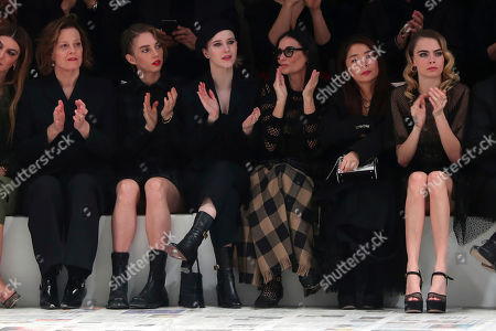 From left, Sigourney Weaver, her daughter Charlotte, Rachel Brosnahan, Demi Moore, and Cara Delevingne applause at the end of the Dior fashion collection during Women's fashion week Fall/Winter 2020/21 presented in Paris