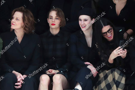 From left, Sigourney Weaver, her daughter Charlotte, Rachel Brosnahan and Demi Moore attend the Dior fashion collection during Women's fashion week Fall/Winter 2020/21 presented in Paris