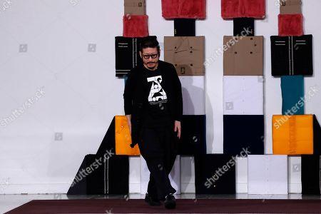 Designer Kunihiko Morinaga reacts after the presentation of Anrealage Women's fashion week Fall/Winter 2020/21 in Paris
