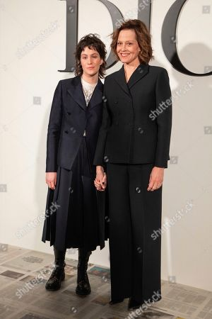 Sigourney Weaver, Charlotte Simpson. Sigourney Weaver and Charlotte Simpson arrive for the Dior fashion collection during Women's fashion week Fall/Winter 2020/21 presented in Paris