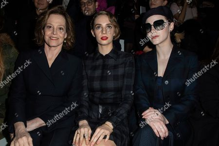 Sigourney Weaver, Maya Hawke, Rachel Brosnahan. Sigourney Weaver, Maya Hawke and Rachel Brosnahan arrive for the Dior fashion collection during Women's fashion week Fall/Winter 2020/21 presented in Paris