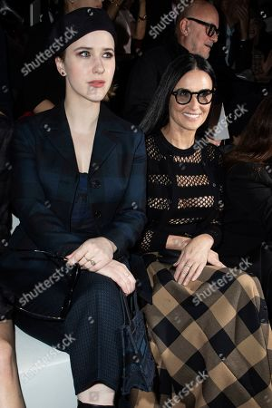 Rachel Brosnahan, Demi Moore. Rachel Brosnahan and Demi Moore arrive for the Dior fashion collection during Women's fashion week Fall/Winter 2020/21 presented in Paris