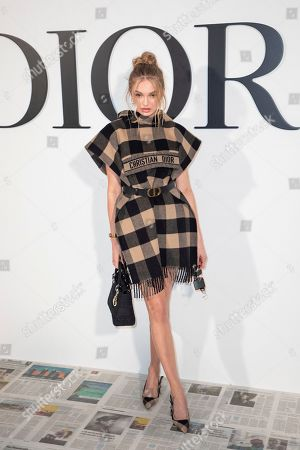 Romee Strijd arrives for the Dior fashion collection during Women's fashion week Fall/Winter 2020/21 presented in Paris