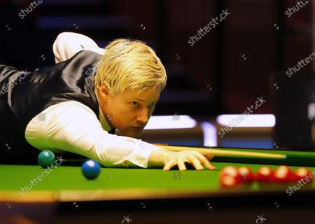 Stock Photo of Neil Robertson (AUS) at the table during his first round match against Joe Perry (ENG)