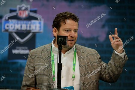 Seattle Seahawks executive vice president and general manager John Schneider speaks during a press conference at the NFL football scouting combine in Indianapolis
