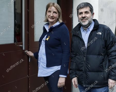 Former president of Catalan pro-independence group ANC Jordi Sanchez (R) reacts as he arrives at the CanPedro charity foundation in Barcelona, Catalonia, northeastern Spain, 25 February 2020. Sanchez is on his second prison for furlough to take part in a volunteering charity job, after being imprisoned for 860 days following the Spanish Supreme Court sentence of nine years and half for sedition and rebellion for his role in the Catalan illegal independence referendum back in 2017.