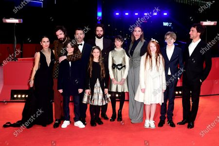 Ileana Stimmatini D'Ambra, director Fabio D'Innocenzo, Tommaso Di Cola, Gabriel Montesi, Giulietta Rebeggiani, director Damiano D'Innocenzo, Giulia Melillo, Barbara Chichiarelli, Laura Borgioli, Justin Korovkin and Elio Germano arrive for the premiere of Favolacce (Bad Tales) during the 70th annual Berlin International Film Festival (Berlinale), in Berlin, Germany, 25 February 2020. The movie is presented in the Official Competition at the Berlinale that runs from 20 February to 01 March 2020.
