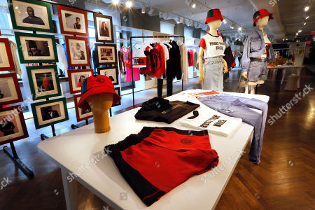 """Items from H&M's new street wear collection are displayed at a store in New York. The collection was designed in collaboration with Ruth Carter, the Academy-Award winning designer behind the costumes for films such as """"Black Panther"""" and """"Malcolm X."""" It debuted as more companies and brands are getting into the business of Black History Month but also trying not to leave the impression that African American consumers are important just once a year"""