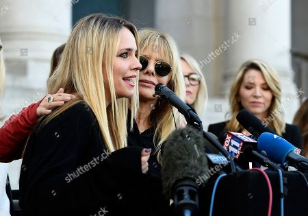 """Jessica Barth, Rosanna Arquette. Actresses Jessica Barth, left, and Rosanna Arquette take part in a news conference by the """"Silence Breakers,"""" a group of women who have spoken out about Hollywood producer Harvey Weinstein's sexual misconduct, at Los Angeles City Hall, in Los Angeles. Weinstein was convicted of rape and sexual assault against two women Monday in Manhattan Supreme Court"""