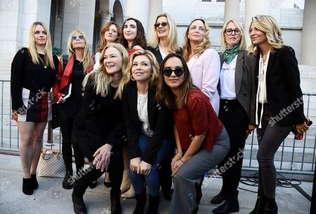 "Stock Picture of Caitlin Dulany, Lauren Sivan, Larissa Gomes, Jessica Barth, Rosanna Arquette, Lauren O'Connor, Sarah Ann Masse, Louise Godbold, Louisette Geiss, Melissa Sagemiller Nesic, Katherine Kendall. A group of women who have spoken out about Hollywood producer Harvey Weinstein's sexual misconduct and refer to themselves as the ""Silence Breakers"" pose together following a news conference at Los Angeles City Hall, in Los Angeles. From left in the front row, Caitlin Dulany, Lauren Sivan and Larissa Gomes. From left in the back row, Jessica Barth, Rosanna Arquette, Lauren O'Connor, Sarah Ann Masse, Louise Godbold, Louisette Geiss, Melissa Sagemiller Nesic and Katherine Kendall"