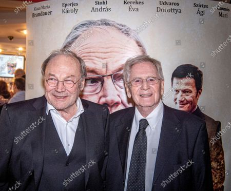 Klaus Maria Brandauer (L) and Hungarian filmmaker Istvan Szabo attend the premiere of their movie Zarojelentes (Final Report) in Corvin Cinema in Budapest, Hungary, 25 February 2020. The drama will be presented in cinemas from 27 February in Hungary.