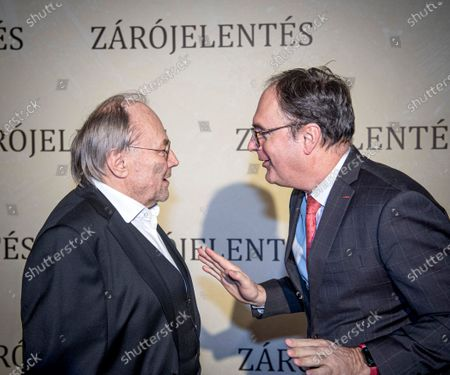 Klaus Maria Brandauer (L) and Government Commissioner in Charge of the Development of Hungary's Film Industry Csaba Kael attend the premiere of Brandauer's latest movie Zarojelentes (Final Report) in Corvin Cinema in Budapest, Hungary, 25 February 2020. The drama, which was directed by Hungarian filmmaker Istvan Szabo, will be presented in cinemas from 27 February in Hungary.