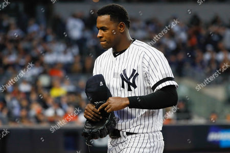 "Stock Photo of New York Yankees starting pitcher Luis Severino leaves the game against the Houston Astros during the fifth inning in Game 3 of baseball's American League Championship Series in New York. Severino needs Tommy John surgery and will miss the 2020 season, another setback for the two-time All-Star and the rotation of the AL East favorites. ""His plan is to have it done as soon as possible,"" Yankees general manager Brian Cashman said"