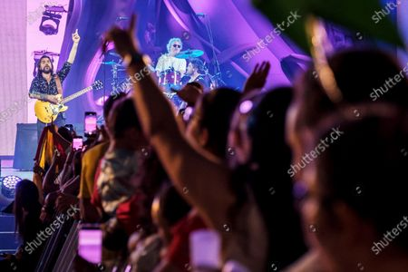 Juanes (L) performs on stage during his concert on occasion of the Las Palmas de Gran Canaria carnival celebrations in Canary Islands, Spain, 25 February 2020.