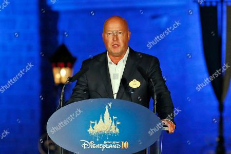 Chairman of Walt Disney Parks and Resorts Bob Chapek speaks during a ceremony at the Hong Kong Disneyland, as he celebrates the Hong Kong Disneyland's 10th anniversary. The Walt Disney Co. has named Bob Chapek CEO, replacing Bob Iger, effective immediately, the company announced