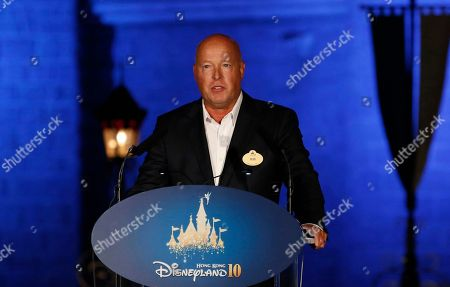 Chairman of Walt Disney Parks and Resorts Bob Chapek speaks during a ceremony at the Hong Kong Disneyland. The Walt Disney Co. has named Chapek CEO, replacing Bob Iger, announced