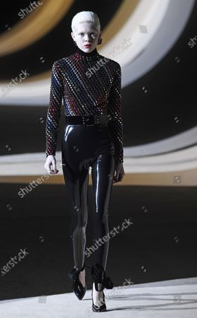 A model presents a creation by Belgium designer Anthony Vaccarello for Yves Saint Laurent (YSL) fashion house during the Paris Fashion Week, in Paris, France, 25 February 2020. The presentations of the Fall-Winter 2020/21 women's collections run from 24 February to 03 March.