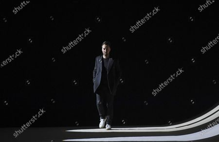 Belgium designer Anthony Vaccarello appears on the catwalk after the presentation of his collection for Yves Saint Laurent (YSL) fashion house during the Paris Fashion Week, in Paris, France, 25 February 2020. The presentations of the Fall-Winter 2020/21 women's collections run from 24 February to 03 March.