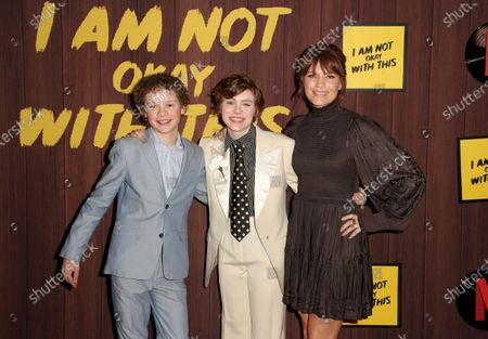 Aidan Wojtak-Hissong, Sophia Lillis and Kathleen Rose Perkins