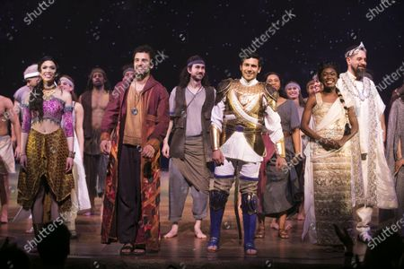 Christine Allado (Tzipporah), Luke Brady (Moses), Liam Tamne (Ramses) and Tanisha Spring (Nefertari) during the curtain call