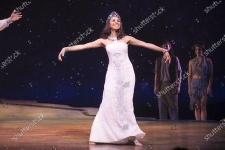 Stock Image of Debbie Kurup (Queen Tuya) during the curtain call