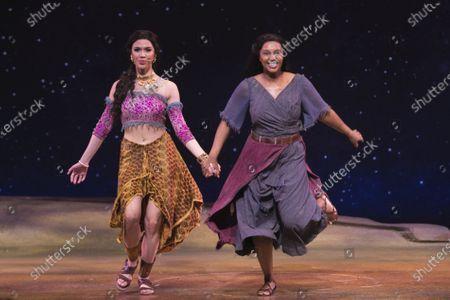 Christine Allado (Tzipporah) and Alexia Khadime (Miriam) during the curtain call