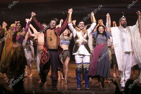 Christine Allado (Tzipporah), Luke Brady (Moses), Liam Tamne (Ramses), Alexia Khadime (Miriam) and Joe Dixon (Seti) during the curtain call