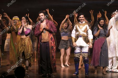 Gary Wilmot (Jethro), Christine Allado (Tzipporah), Luke Brady (Moses), Liam Tamne (Ramses) and Alexia Khadime (Miriam) during the curtain call