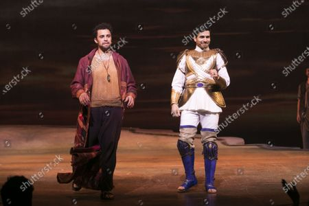 Luke Brady (Moses) and Liam Tamne (Ramses) during the curtain call