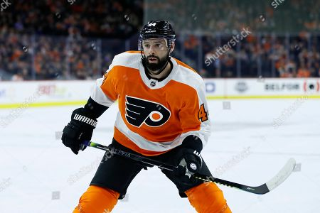 Philadelphia Flyers' Chris Stewart plays during the first period of an NHL hockey game against the San Jose Sharks, in Philadelphia