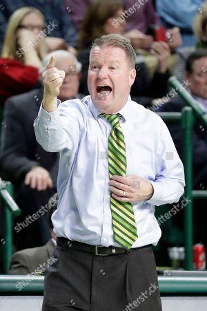 George Mason head coach Dave Paulsen reacts during the second half of an NCAA college basketball game against Dayton, in Fairfax, Va. Dayton won 62-55