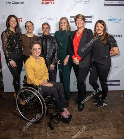 Stock Image of Clare Balding OBE, Jordan Nobbs, Sam Quek, MBE, Emma Wiggs, MBE, Anna Kessel MBE, Harriet Dart, Liz Johnson