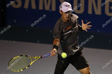 Jason Jung of Taiwan in action against Alexander Zverev of Germany during the Mexican Open tennis tournament in Acapulco, Mexico, 25 February 2020.