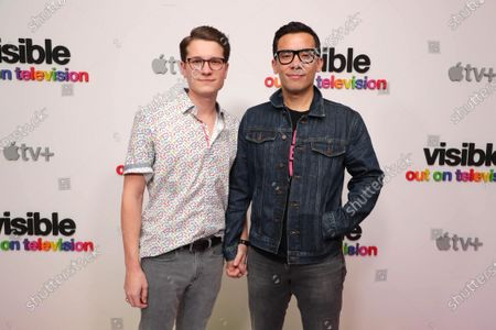 """Joshua Cockream and Conrad Ricamora at Apple's """"Visible: Out on Television"""" screening at The West Hollywood EDITION. """"Visible: Out on Television"""" is available to watch now on Apple TV+."""