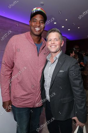 """Jason Collins and Brunson Green at Apple's """"Visible: Out on Television"""" screening at The West Hollywood EDITION. """"Visible: Out on Television"""" is available to watch now on Apple TV+."""
