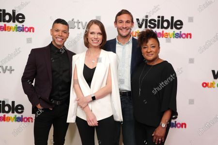 """Stock Picture of Wilson Cruz, Executive Producer, Jessica Hargrave Executive Producer, Ryan White, Director/Executive Producer, and Wanda Sykes, Executive Producer, at Apple's """"Visible: Out on Television"""" screening at The West Hollywood EDITION. """"Visible: Out on Television"""" is available to watch now on Apple TV+."""